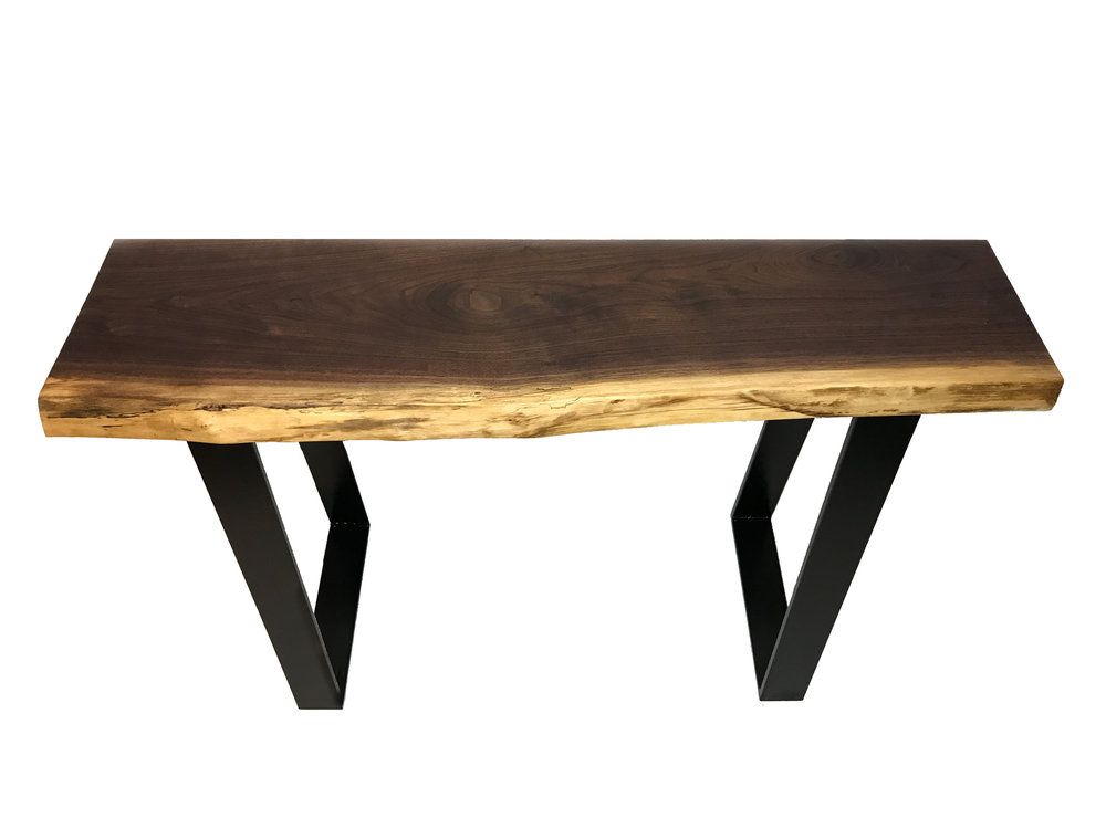 Live Edge Walnut Console Table Full View