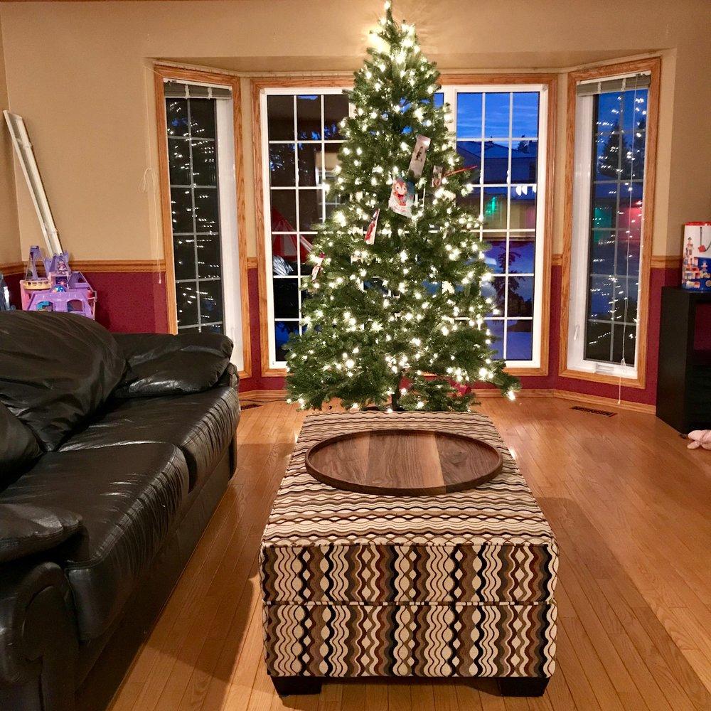 Walnut Circular Tray Living Room.jpeg