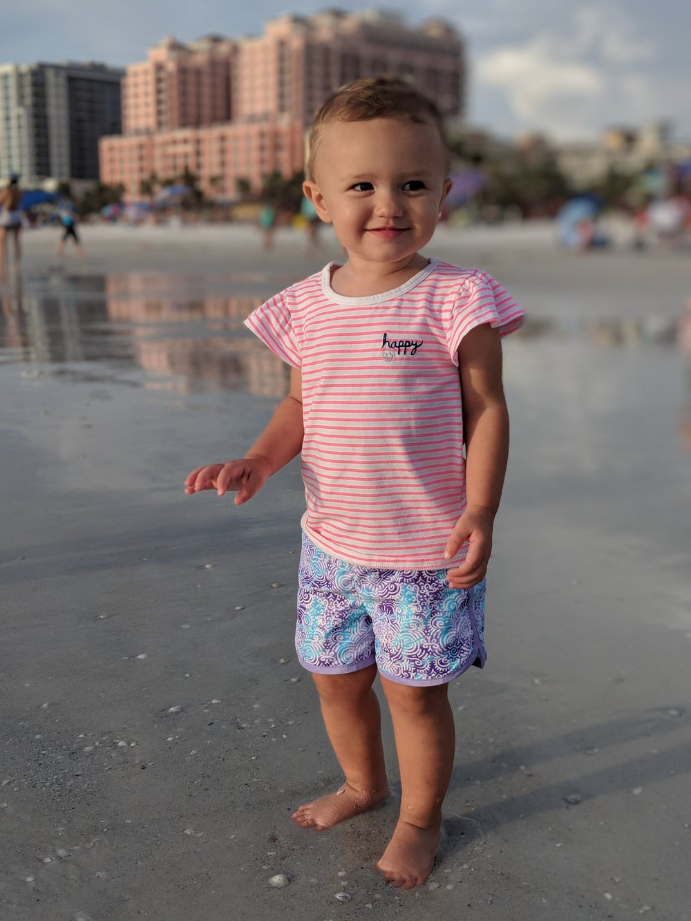 G at the beach the night before. She had a blast!