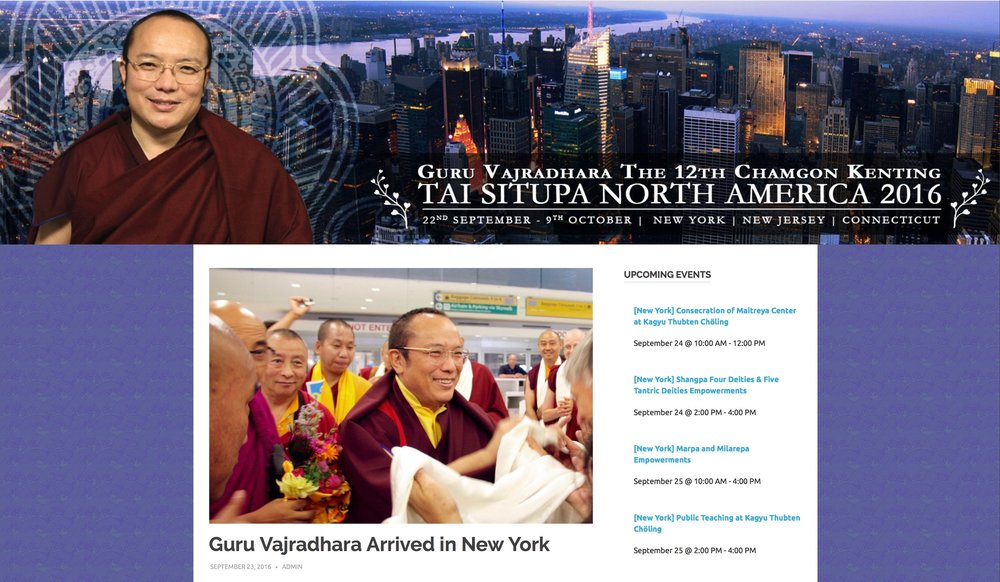 Palpung Web Center - Arrival of Guru Vajradhara in New York