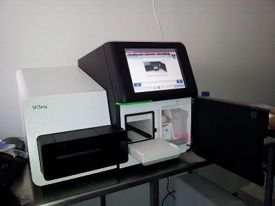 Current high throughput sequencing (HTS) devices fit on a lab bench, and are being deployed in collaborative, large scale survelliance such as the GenomeTrakr network. Photo:   Konrad Förstner / wikimedia.org   (CC0 1.0)