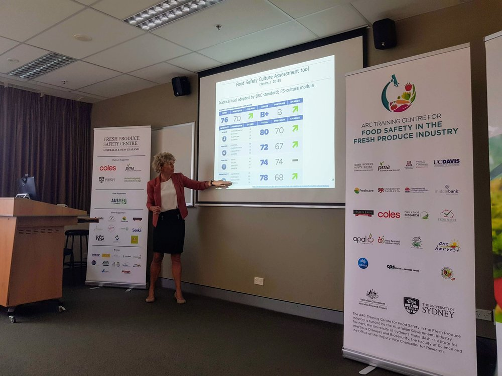 Dr Pieternel Luning providing overview of tools that can be used for assessing Food Safety Culture to industry audience via co-hosted event with the  Fresh Produce Safety Centre Australia and New Zealand