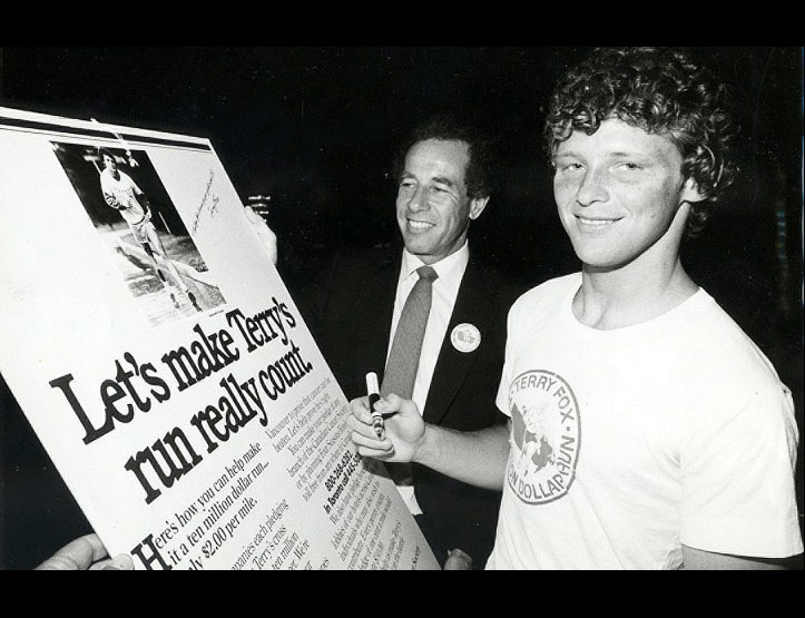 Terry Fox with Isadore Sharp. Photo by Gail Harvey.