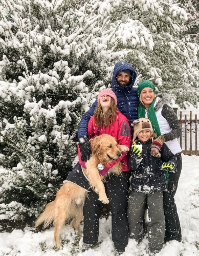 Matt, Sasha, Ella Jane, Grant, and their golden retriver Murphy