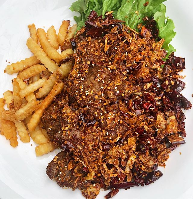 Sichuan peppercorns lamb chops with fries #alley41 📷: @foodiejudge . . . This is first time that I had spicy 🌶 version of lamb chop and love it every bite.  It was perfect way to get rid of lamb smell and fries at the side was good idea.  They give you a lot of lamb chops. . . @alley41official Located in flushing New York and definitely would to check out if you in the area searching some good Sichuan food.