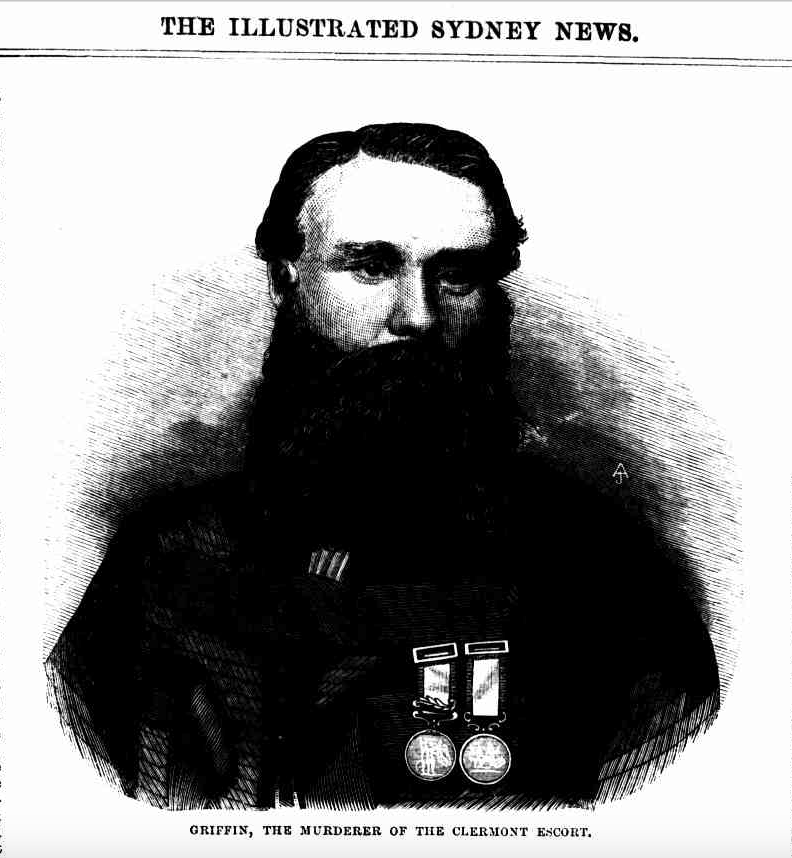 Engraved portrait of Thomas Griffin, Illustrated Sydney News 16 May 1868. Sourced from National Library's Trove site. Image problems due to original scanning of printed source.