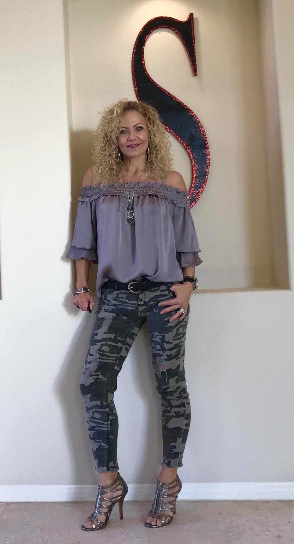 Camo pants and Gray Top