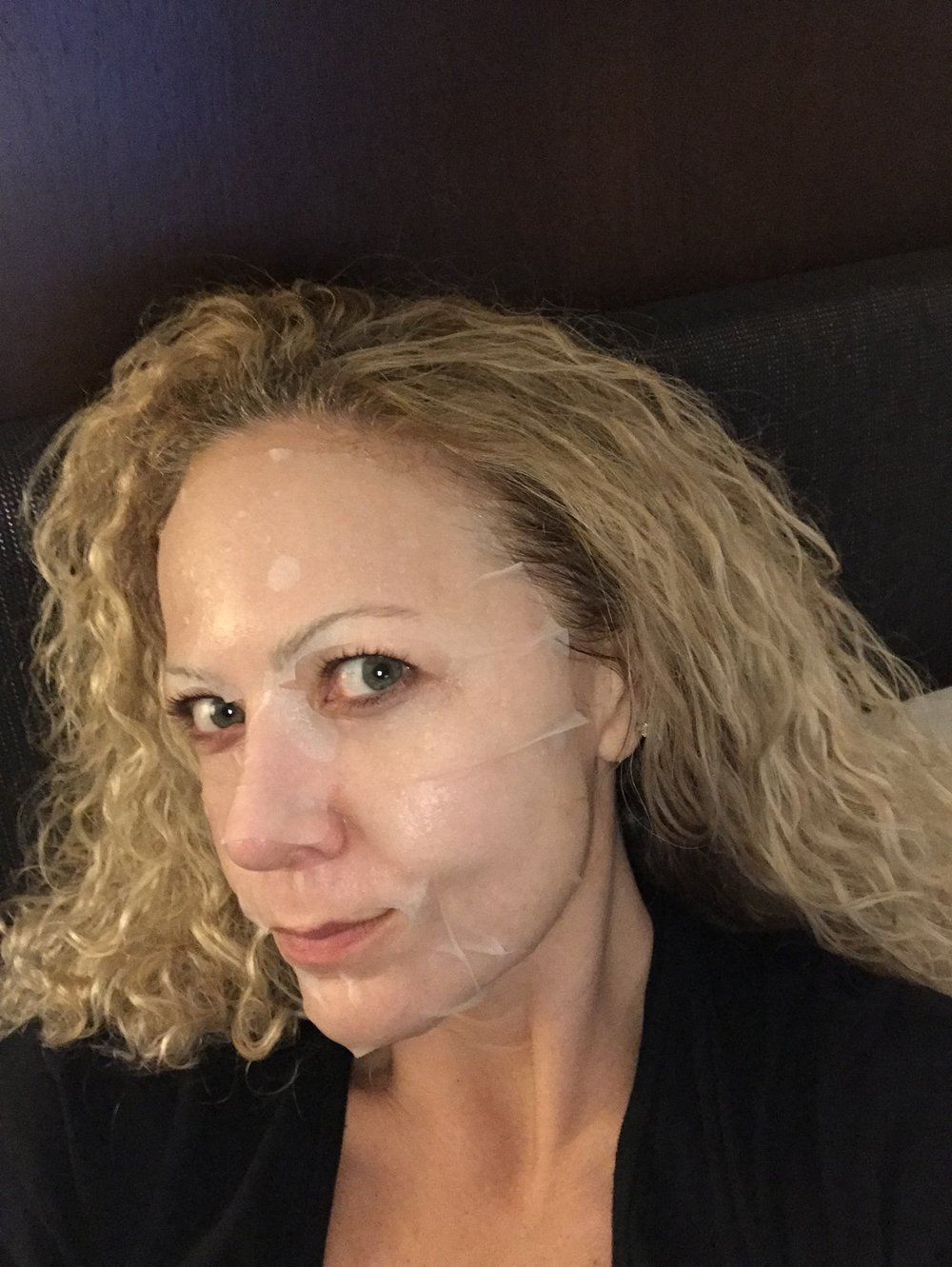 Sheet mask to moisturize. They are creepy and drippy so if you can get past that, these work well and easy to pack. When I am done with having this on my face, I will take the mask and apply to décolletage. Try it, there is always a lot of product left on these and using same products on your face and décolletage will help reduce signs of aging.