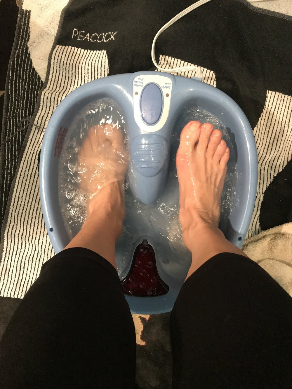Hot tub time machine for my feet - Just add warm water, essential oils and shower or bath soap