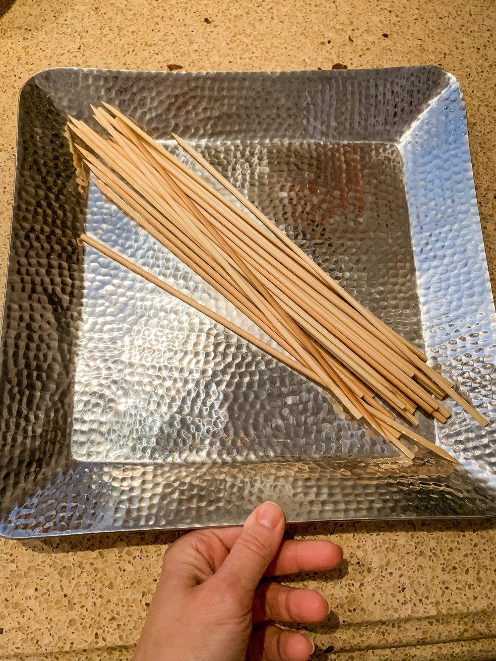 Step 2 - Soak skewers so wood does not splinter