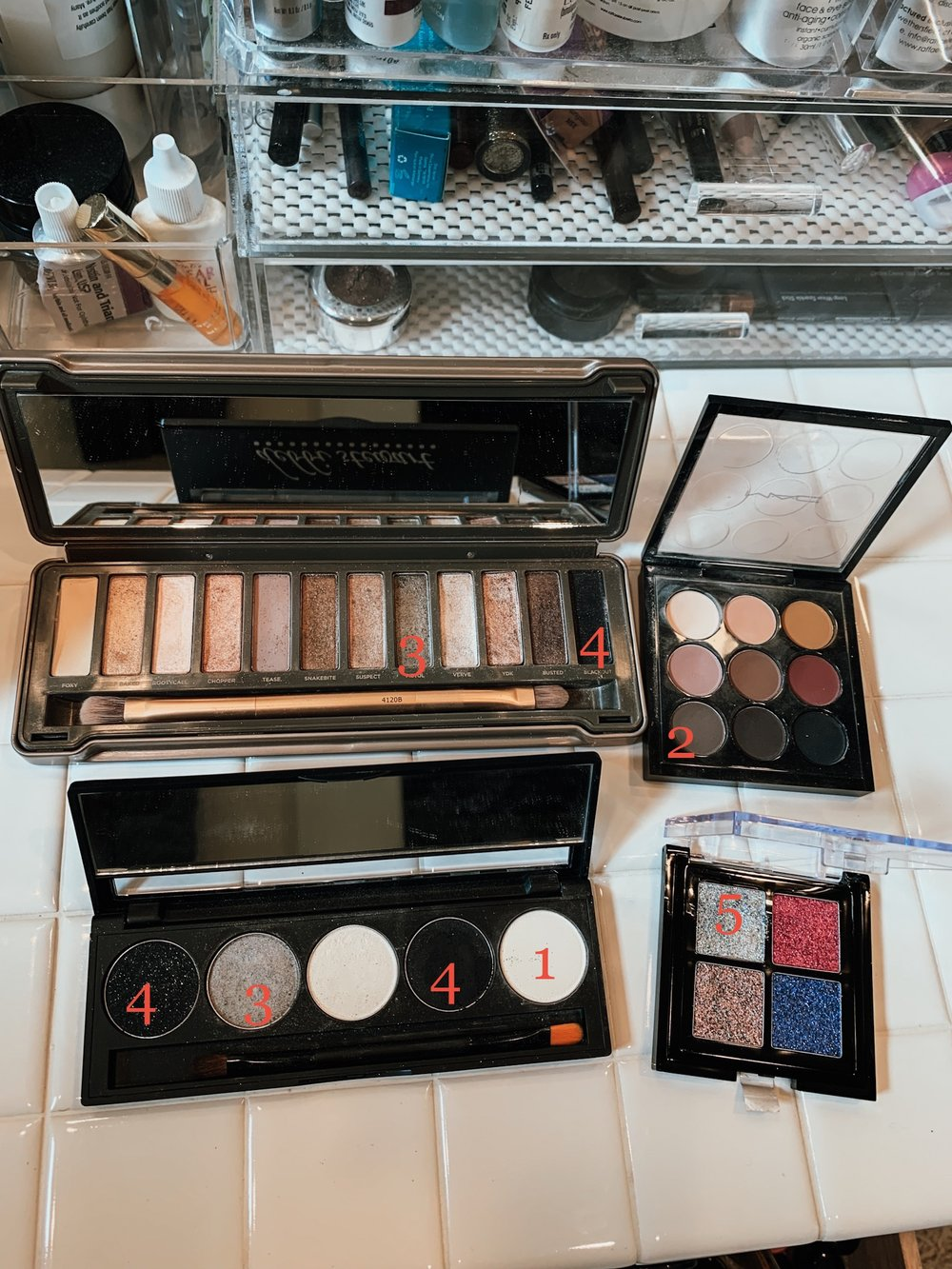 My supplies - Using makeup I had, here are products I used in order of the demo.