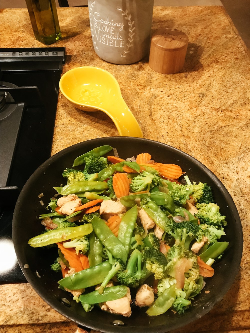 All cooked up - We like our veggies soft and not too much liquid.  Here is the finished look