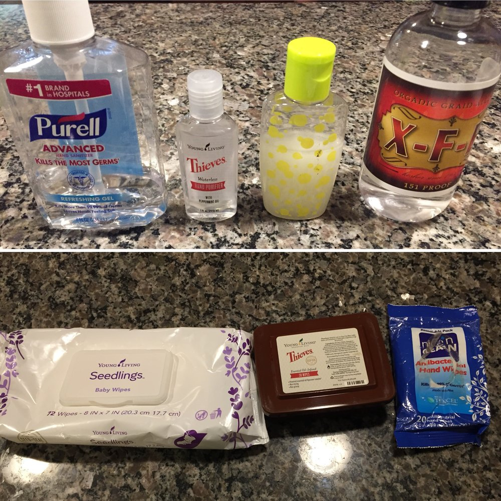 We have Purell, Thieves Waterless Hand Purifier, a homemade recipe of aloe gel and