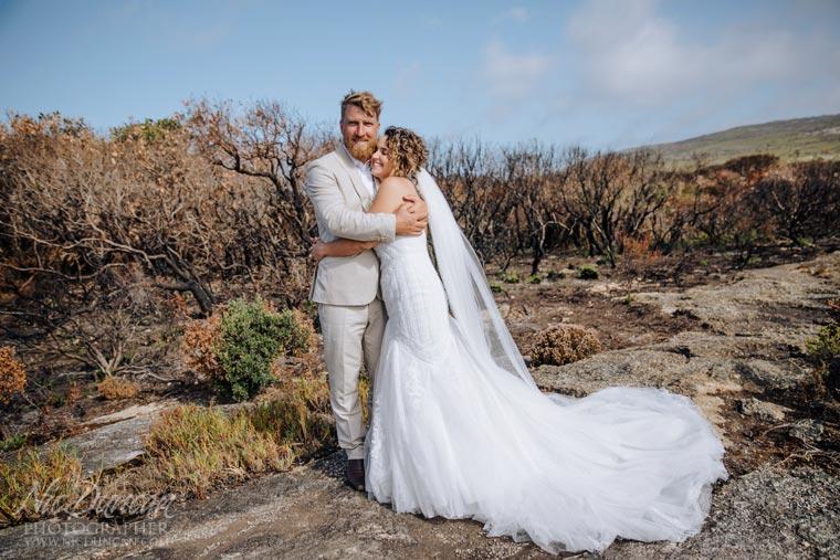 bride & groom after the bushfire