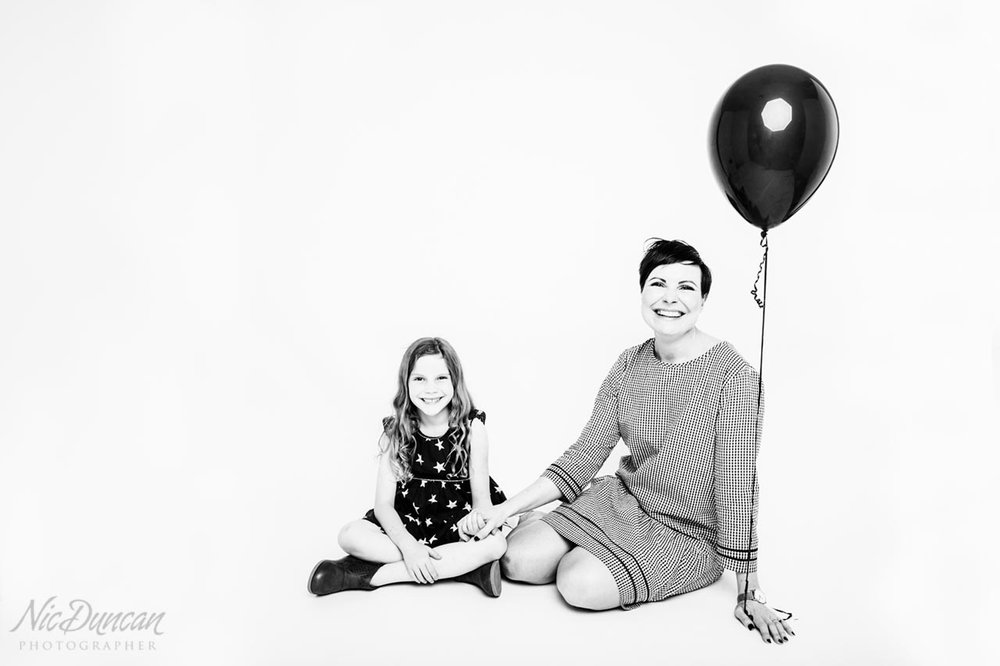 Mother and daughter studio portrait