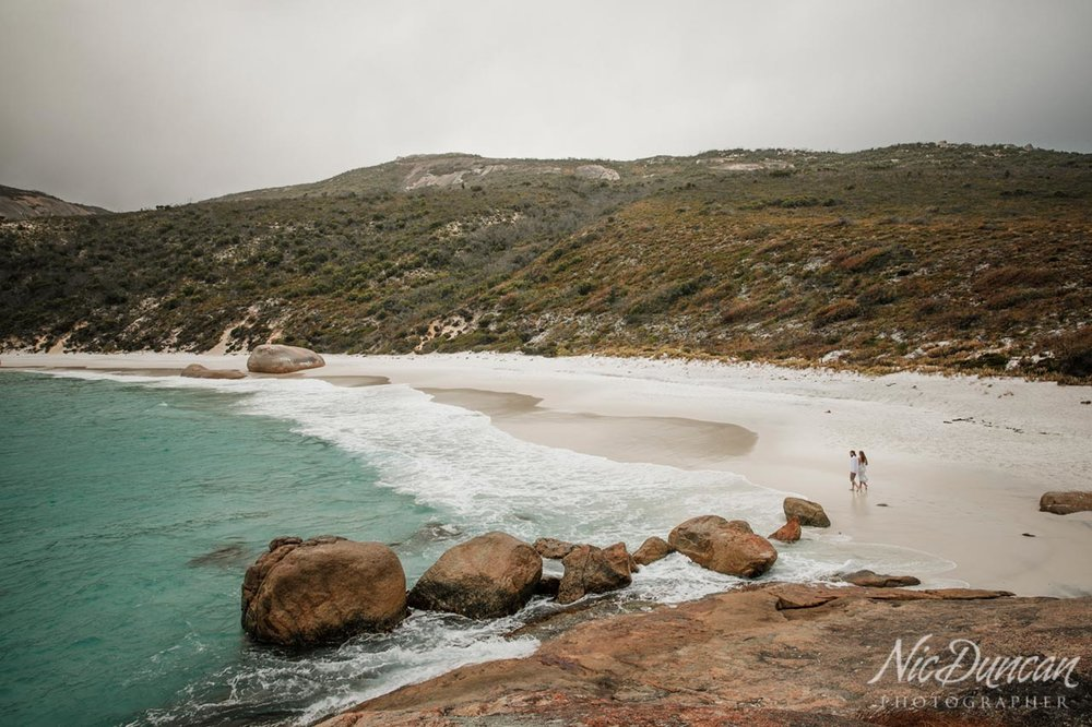 Pre-wedding portraits at Little Beach, Albany WA
