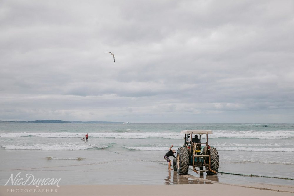 Salmon fishermen at work on the south coast of WA
