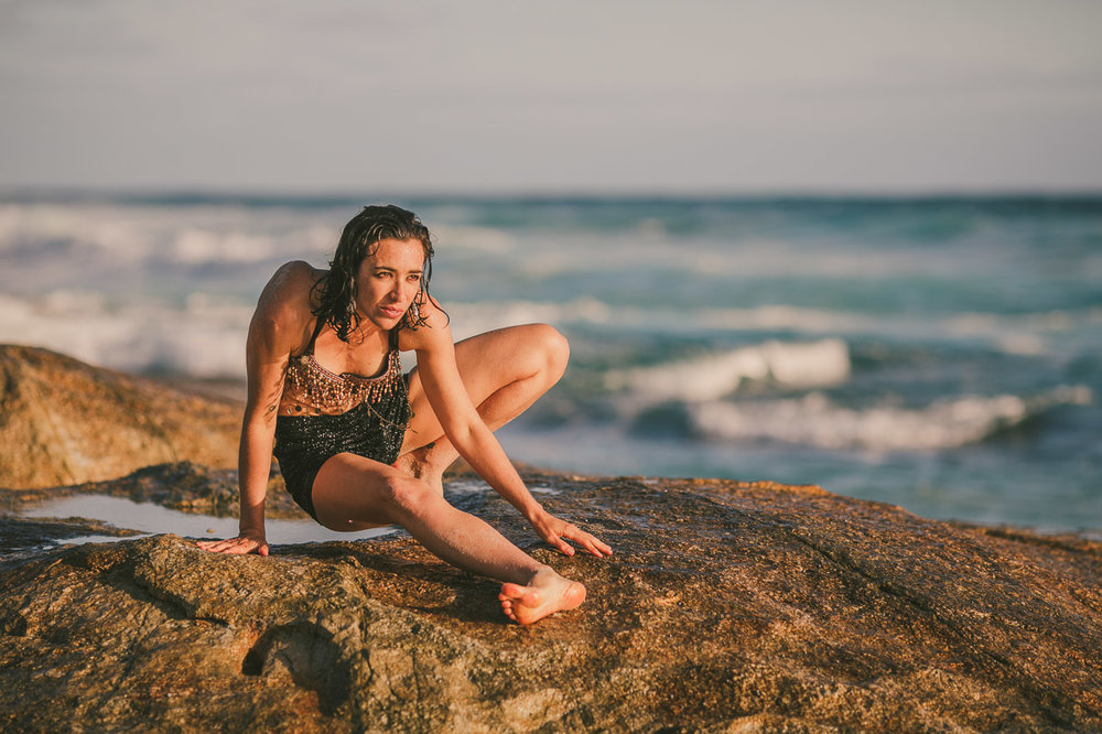 Portrait on the rocks by the ocean, on the amazing south coast of Western Australia