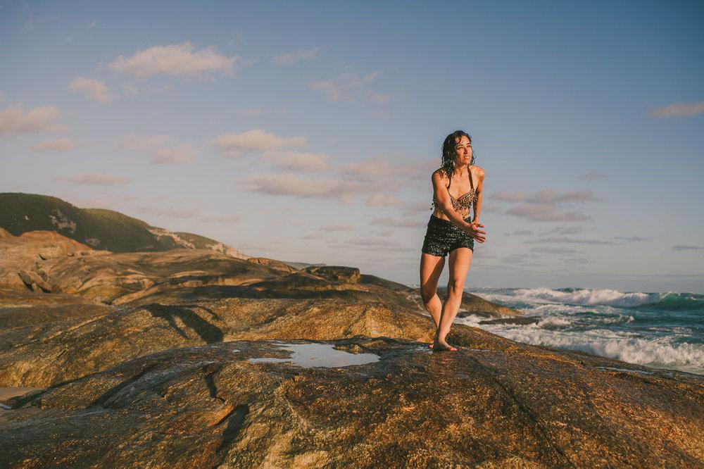 Portrait of artist Kate Gillett taken by photographer Nic Duncan. The amazing south coast of Western Australia.