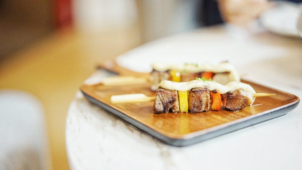 Beef Skewers - succulent cubed beef,medium-raremayonnaiseterriyaki sauce