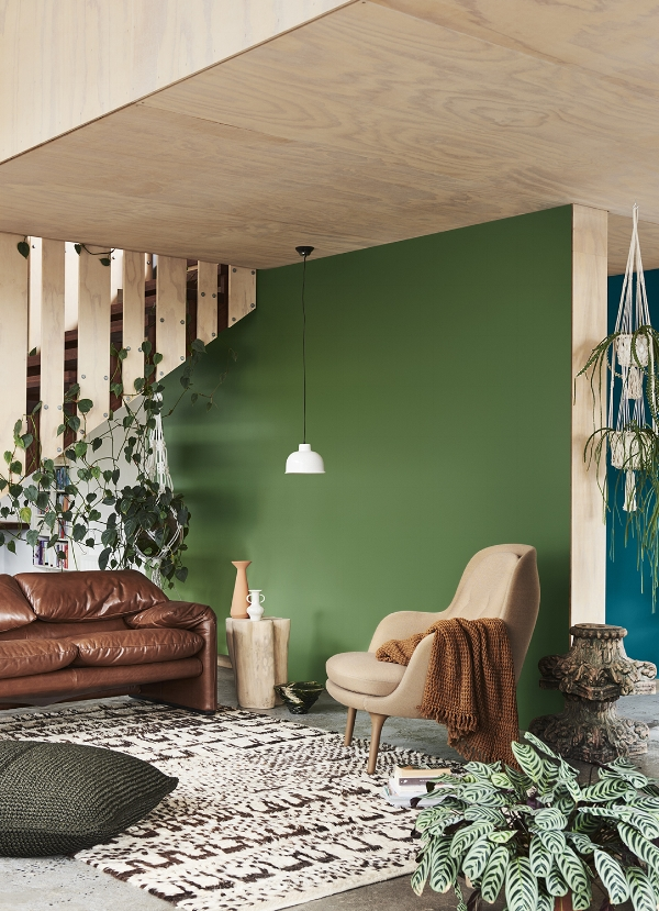 Repair palette Dulux Colour Forecast. Photo by Lisa Cohen, Styled by Bree Leech. Wall colour Dulux Otatara.