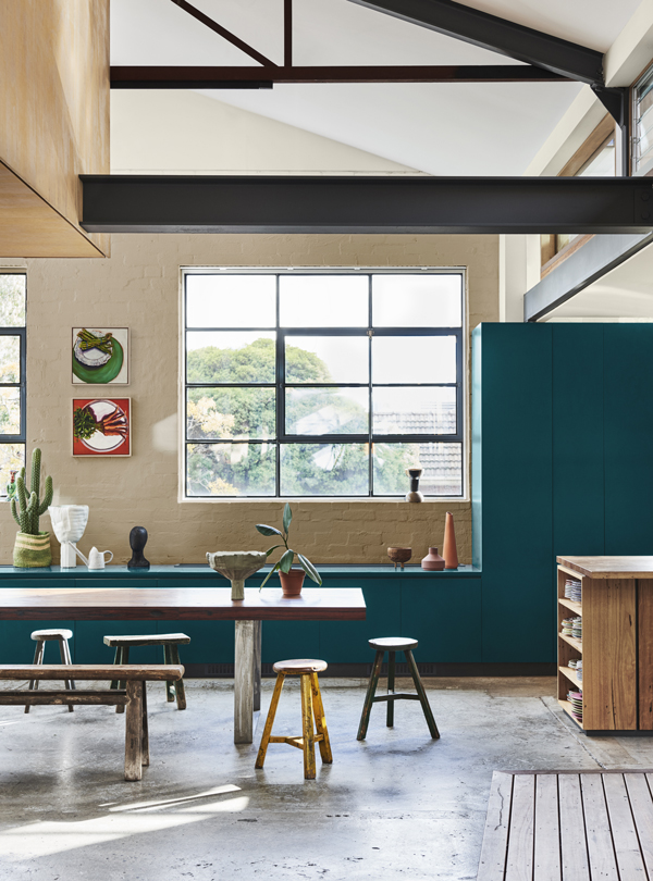 Repair Palette Dulux Colour Forecast. Stylist Bree Leech. Photographer Lisa Cohen. Wall colour Dulux Cobbler, with Cape Colville above brick, ceiling in Cardona, cabinets similar to Dulux Big Lagoon.
