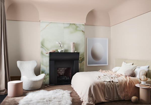 Wholeself Palette Dulux Colour Forecast. Stylist Bree Leech. Photographer Lisa Cohen. Wall colour Dulux Shetland Lace Half, ceiling Dulux Titahi Bay. Artwork: 'Ovoid II' original artwork by Nick Horan,  Hub Furniture