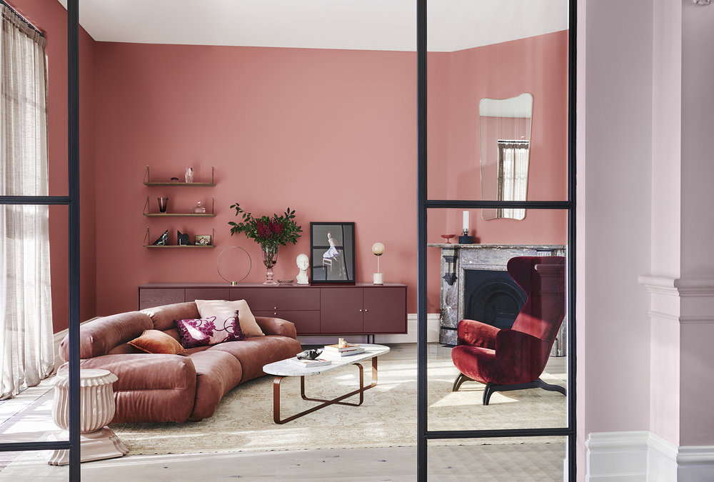 Legacy Palette Dulux Colour Forecast. Stylist Bree Leech. Photographer Lisa Cohen.Wall (rear) in Dulux Shepherd's Warning, console in Federation Brown, wall (right) in Pink Linen Half, ceiling & trims in St Clair quarter. Artwork: Orphelia Ritual One art print,  Figgoscope Curates