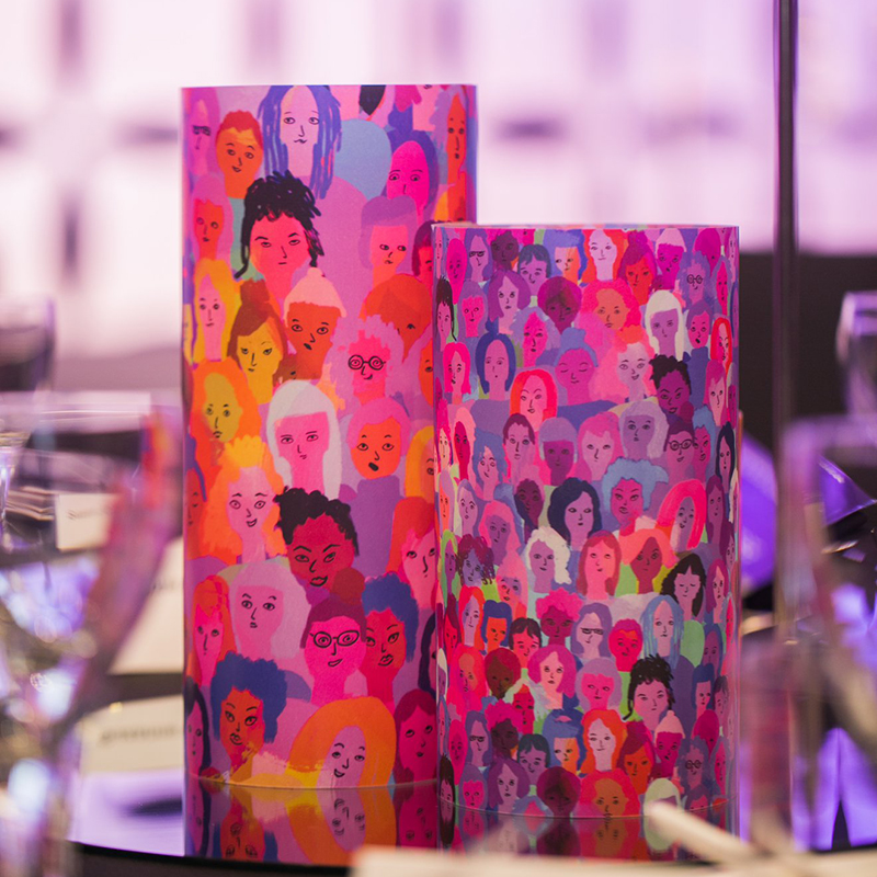 Women of Influence Awards 2018  On the anniversary of 125 years of women's suffrage in NZ, Evie was honoured to be invite to art direct, style and create a custom artwork for the Women of Influence awards, co hosted by Westpac and stuff.co.nz, and attended by over 850 people.