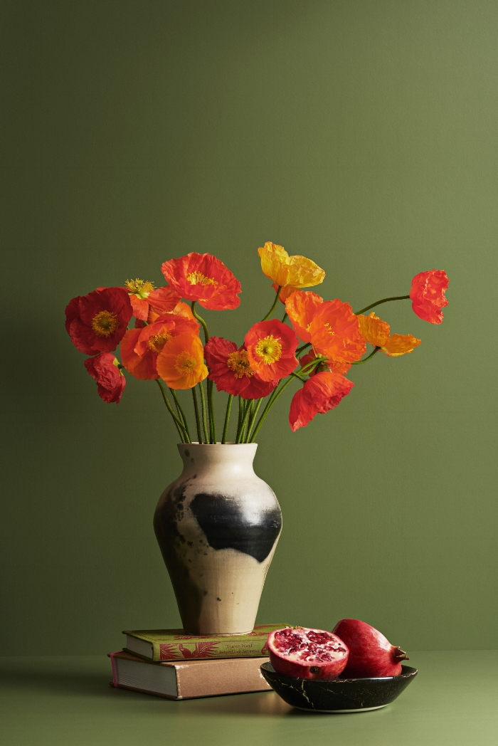 "Icelandic Poppies are grown around Levin, and are pictured on a background of Dulux ""Te Horo""."