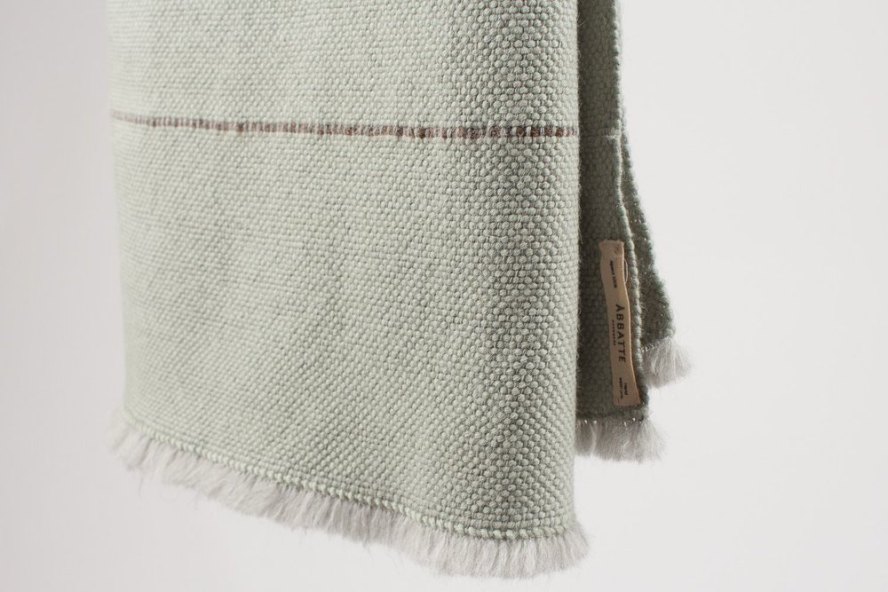 A1 | Tabby Blanket - Color: Light green / MistMaterials: 100% Alpaca120 x 200 cm / 47,24 x 78,74 inHand Crafted in Segovia, Spain