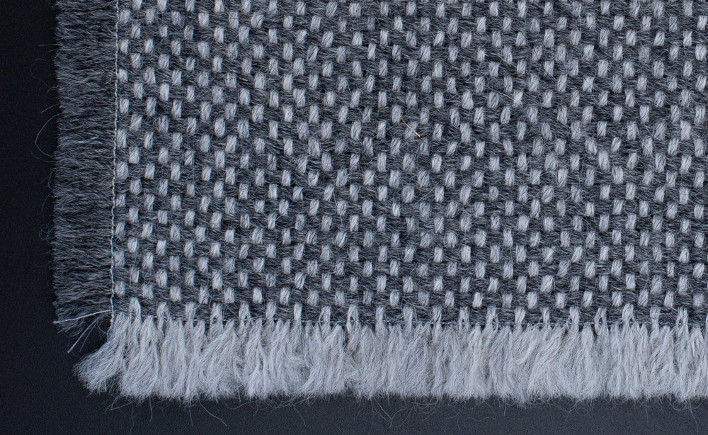 Sample1 |Tabby Weave - Color: Mist Grey Alpaca | Dark Grey AlpacaFiber: Baby AlpacaW141cm x L216cm | 55.5