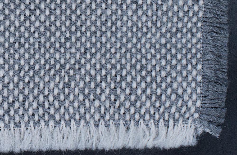 Sample 2 |Tabby Weave - Color: White Merino Wool | Rain Grey AlpcaFiber: Baby Alpaca | WoolW244cm x L183cm | 96