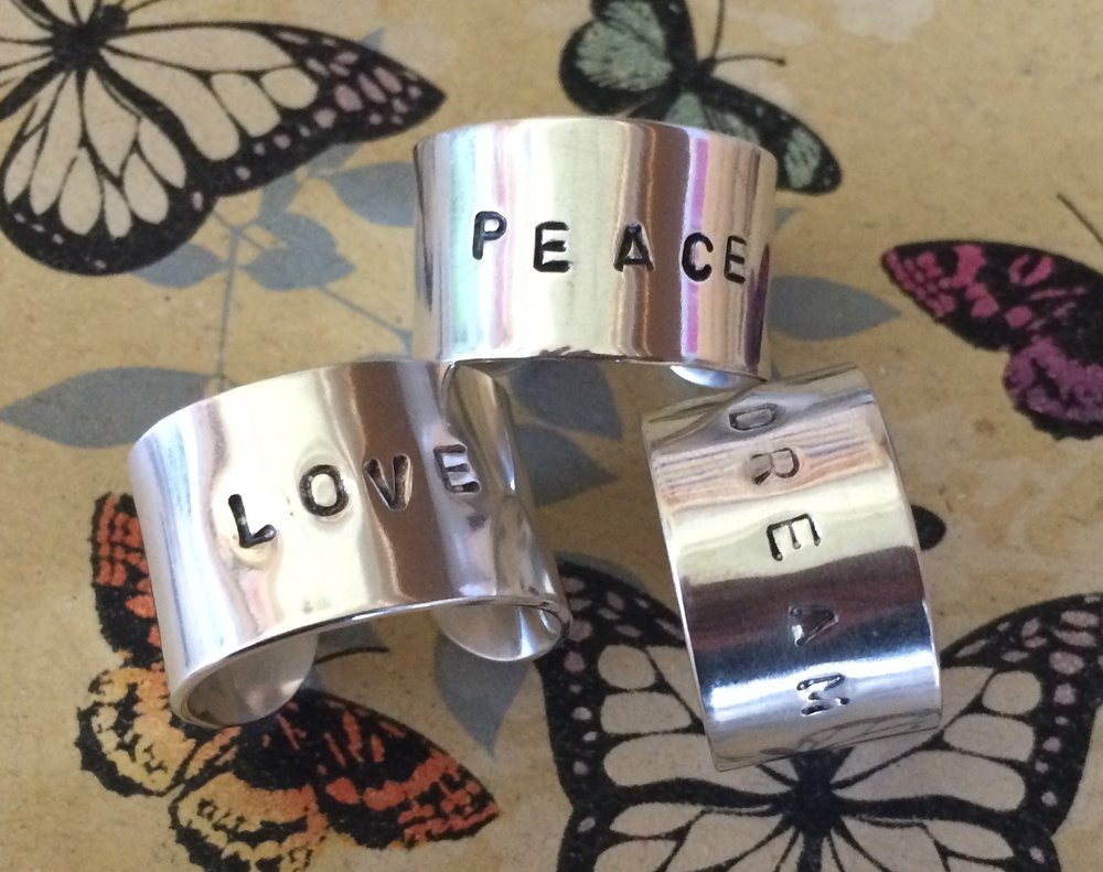 Sterling silver word cuff rings. Choose your own word    $90