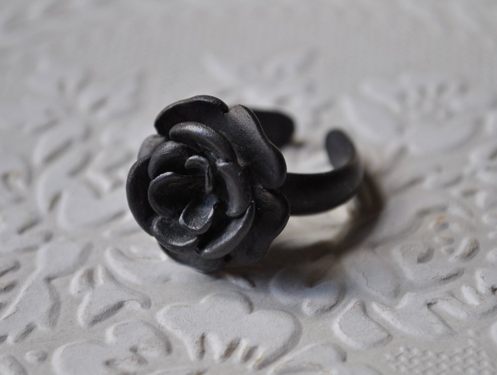 Sterling silver oxidised flower ring    $160