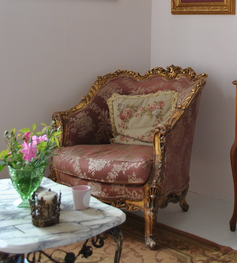 Beautiful gilded French chair  $1600
