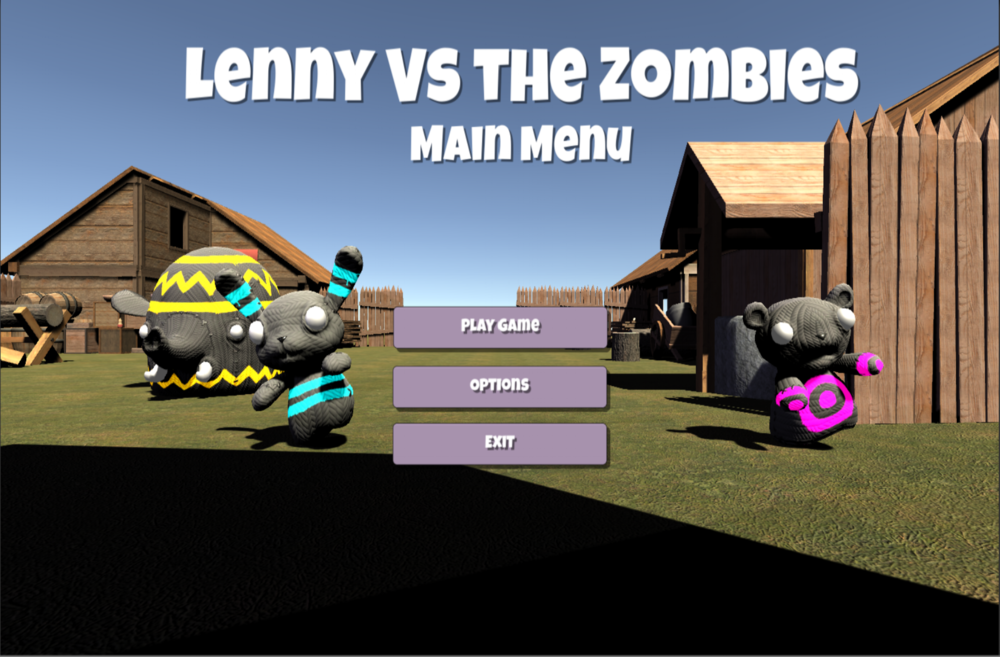 Lenny vs the Zombies - • A 3D first-person shooter game built using Unity and C#.Implemented game elements like rendering, audio, UI,gameplay, and screens using Unity and C#.• Ranked class's favorite and most entertaining project.• Sole contributor
