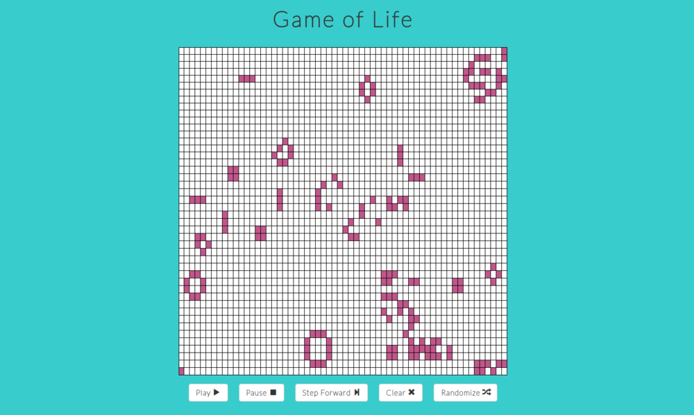 Game of Life - • Remake of John Horton Conway's game of life that produces complex behavior based on whether neighboring cells are alive or dead.• Built using JavaScript, React.js and Redux.• Sole Contributor