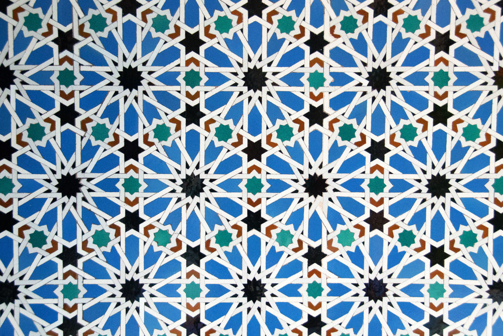 Wall decorated with tiny pieces of glazed tile, Real Alcázar
