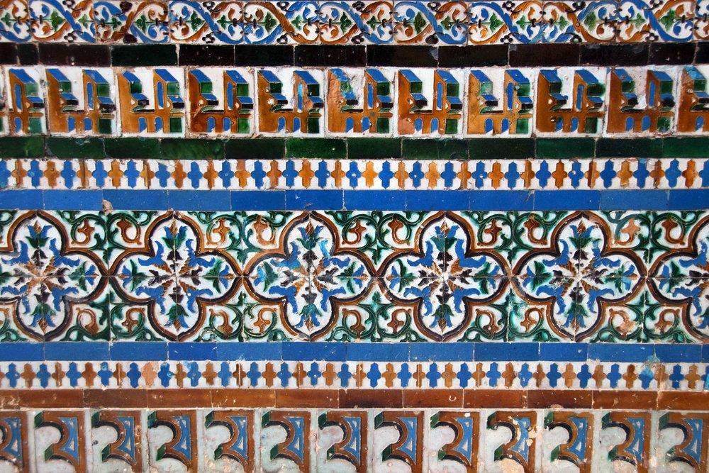 Glazed tile decoration of the walls at Casa de Pilatos