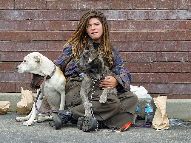 Homeless woman, Wikimedia commons
