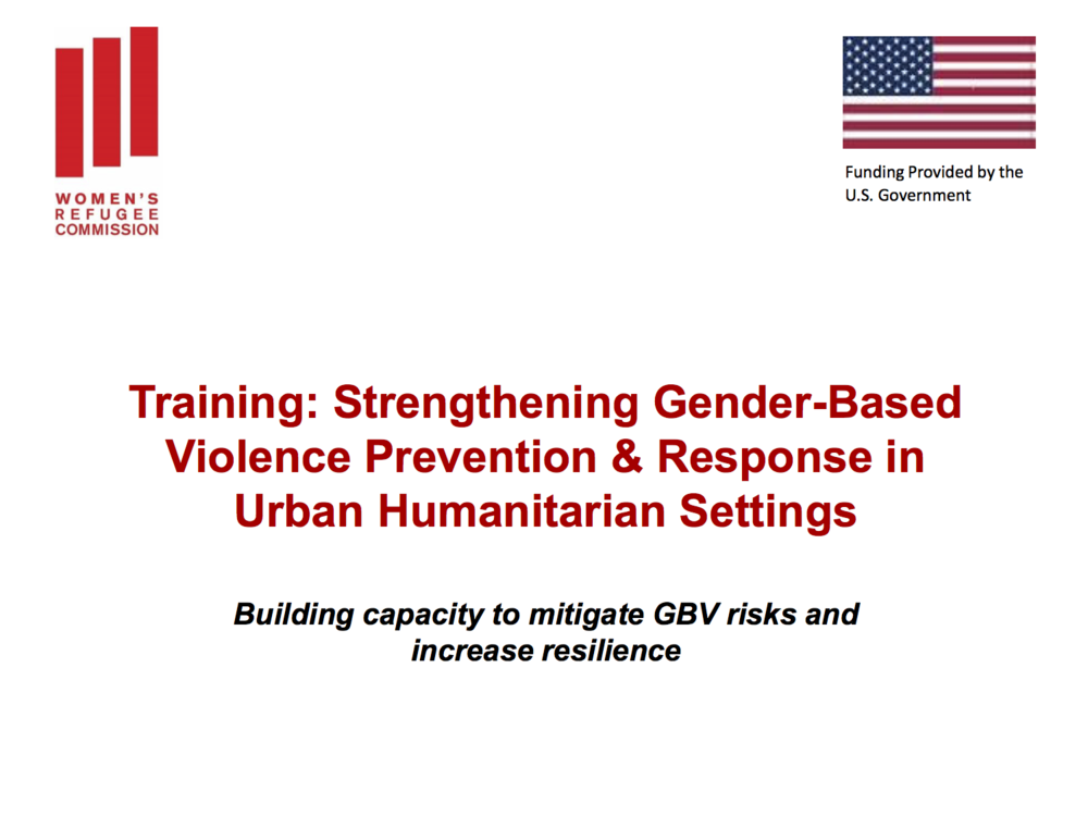 Training: Strengthening Gender-Based Violence Prevention & Response in Urban Humanitarian Settings