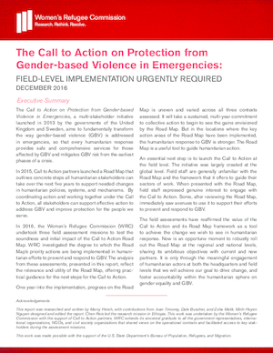 The Call to Action on Protection from Gender-based Violence in Emergencies