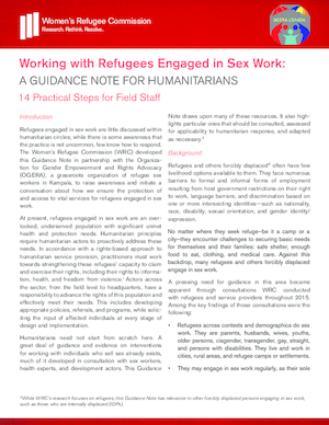 Working with Refugees Engaged in Sex Work: A Guidance Note for Humanitarians