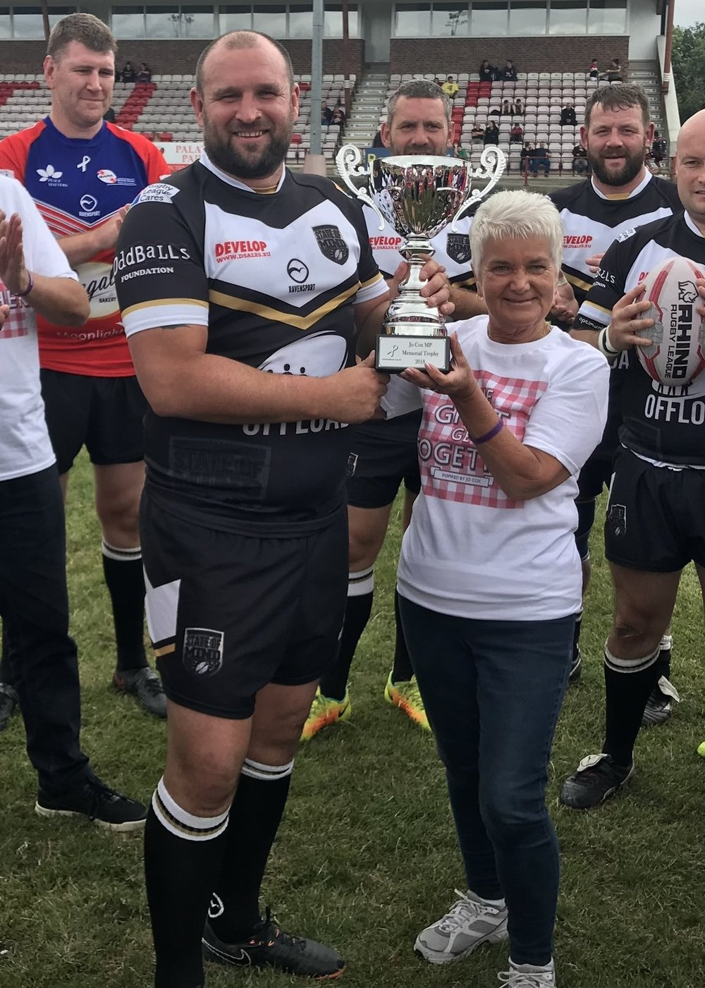 Jo Cox's Mother, Jean Leadbeater presents the trophy to the winning team on 17th June.