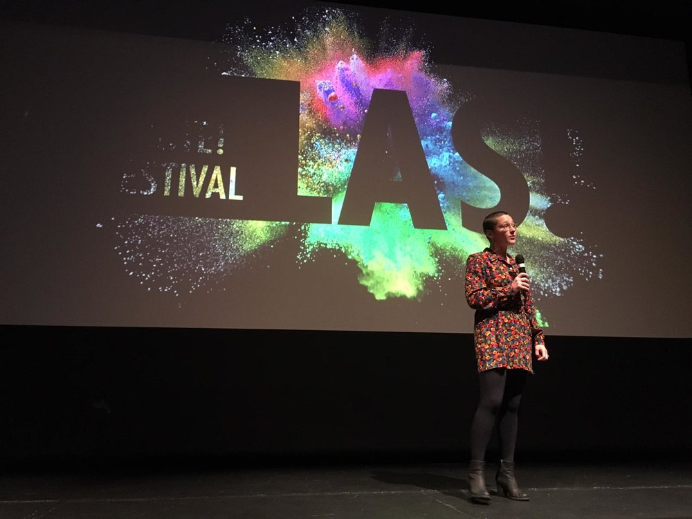 Lily speaking at the Las/Ignite Festival on Stornaway