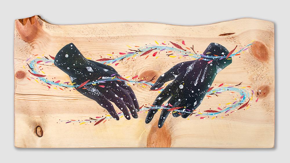 """""""Haptic"""" Acrylic on wood, 55x27 cm. 2017"""