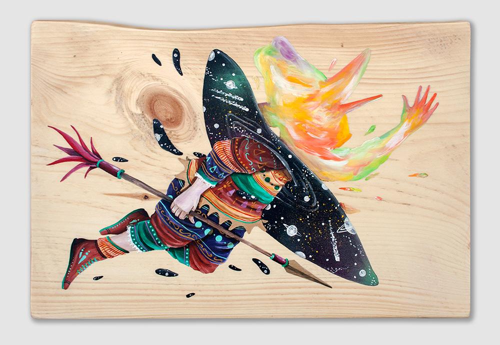 """Astral body"" Acrylic on wood, 40x28 cm. 2017"
