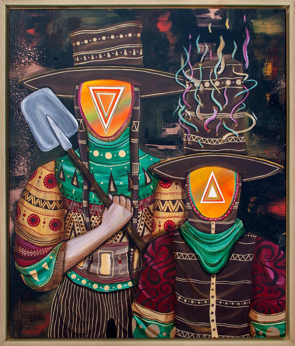 """Inner explorers"" Mixed media on linen canvas, 40 x 50 cm"