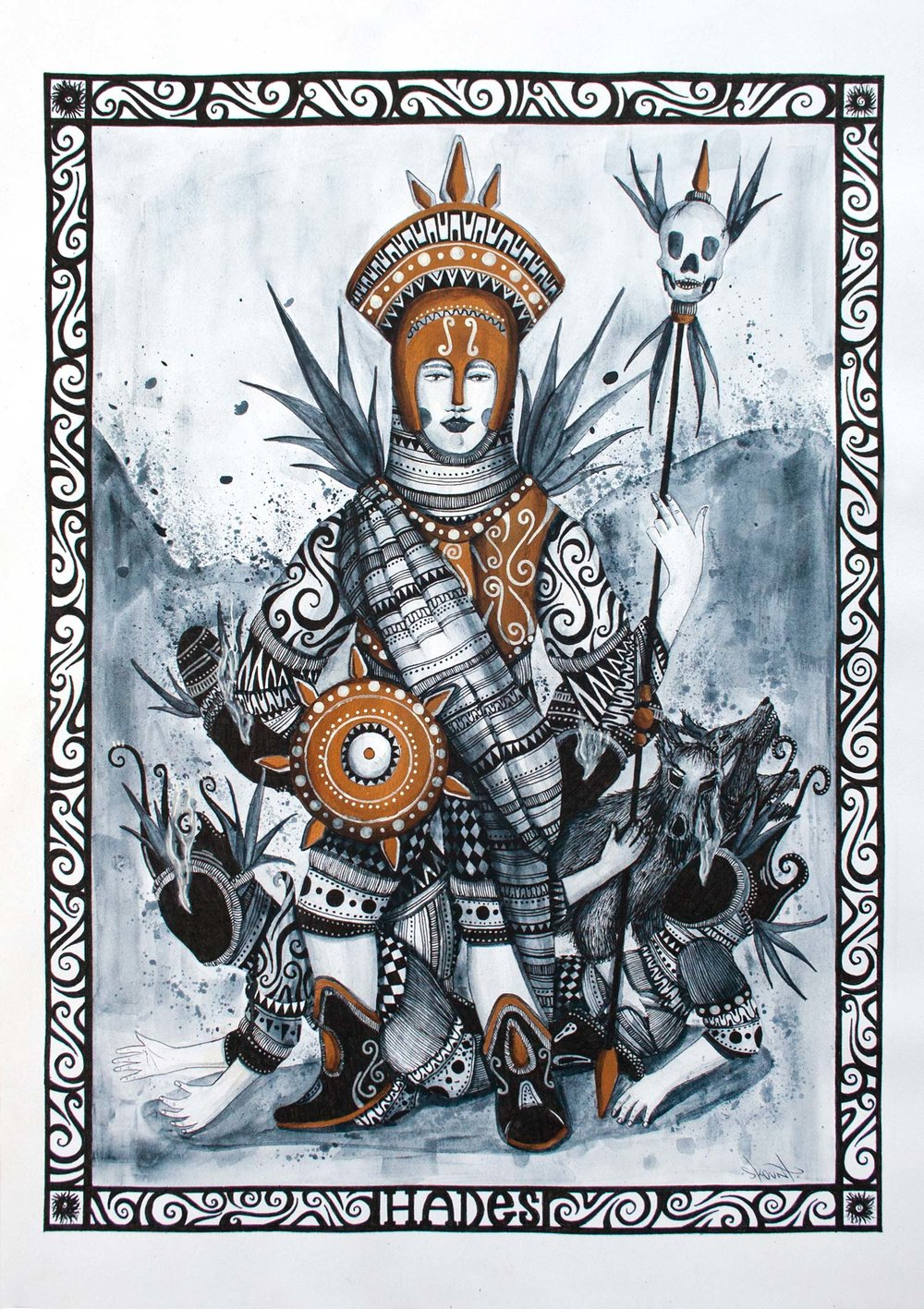 HADES , GOD OF THE UNDERWORLD.WATERCOLOR AND INK ON 300GR WATERCOLOR PAPER 42 X 30 CM. 2013WATERCOLOR AND INK ON 300GR WATERCOLOR PAPER 42 X 30 CM. 2013